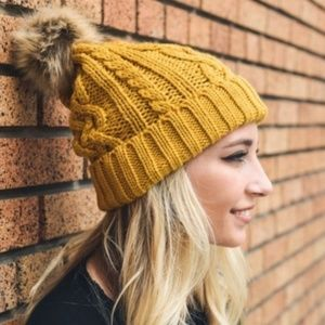 Accessories - Cable Knit Beanie with Faux Fur Pom